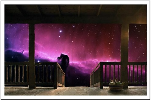 Wooden  Balcony in the stars