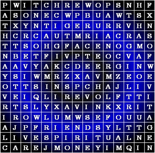 Hidden Spiritual Words puzzle